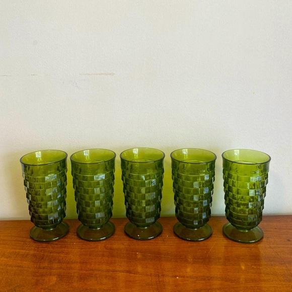 Vintage Indiana Green Glassware Set of 5
